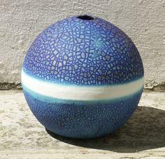 Pauline Barnden  Large Blue Ball   Dimensions: 23cm (9in) diameter   Material: Porcelain   Firing Temperature: 1200 deg. c   Glaze: Barium based