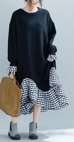 [ hijab 2020 DIY patchwork Plaid cotton dresses Plus Size design black Kaftan Dresses. Women's Dresses, Cotton Dresses, Lounge Dresses, Pageant Dresses, Linen Dresses, Plaid Coton, Hijab Fashion, Fashion Dresses, Fashion Vest
