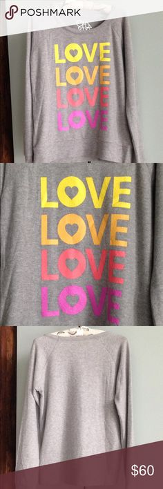 """Love Knit Pullover Sweatshirt Details - """"Love"""" in Yellows, Coral and Pink Crewneck - Long Sleeves - Size:  S - Approx. 24"""" Length; 19"""" Flat Pit to Pit - NWT  Fiber Content: 49% polyester, 46% rayon, 5% spandex Chaser Tops Sweatshirts & Hoodies"""