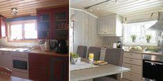 Hyttekjøkken, før og etter