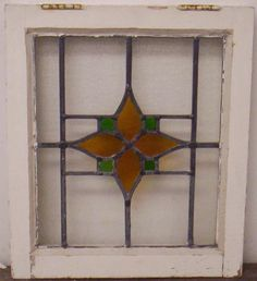 """OLD ENGLISH LEADED STAINED GLASS WINDOW Flower Design 16.5"""" x 19.25"""""""