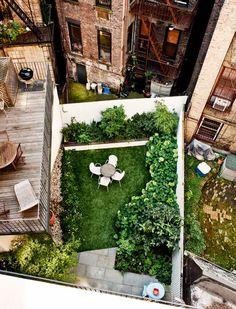 Aerial view, green urban patio.