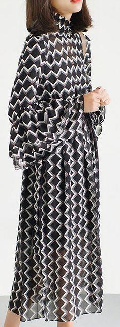 black high neck chiffon maxi dresses print fabric long sleeve beach dresses