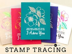 Stamp tracing using gel & glitter pens + video