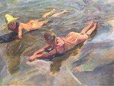 Cuadro Idilio en el Mar pintado por Joaquín Sorolla y Bastida. La obra muestra una pareja de niños jugando en la playa de Valencia de mediados del siglo XX.