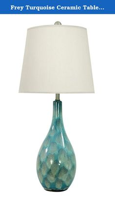 Frey Turquoise Ceramic Table Lamp. About Aspire Specializing in quality lamps, wall art, clocks, mirrors and accent vases, Aspire offers a wide selection of products for every taste. You'll appreciate the designer look without the designer prices. Aspire is a family-owned and operated business that's served the home decor industry for over 30 years. Thanks to beautiful design with quality in mind, they continue to flourish. Ceramic base in tones of blue, green, and purple. Each lamp is...