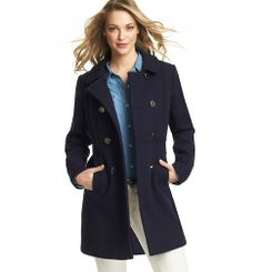 Wool Blend Twill Double Breasted Coat | Loft -- LOVE this!!