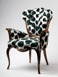 Madeline Weinrib - Furniture, Black Mu Ikat Slipper Chair