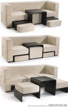 Such a good idea for a couch - adjustable/rearrangable ottomans/table!