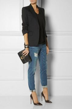 le jean boyfriend femme 70 idees comment le porter archzine fr Boyfriend jeans – 70 ideas how to wear it? Heels Outfits, Mode Outfits, Jean Outfits, Trendy Outfits, Summer Outfits, Casual Chic Style, Work Casual, Casual Looks, Smart Casual