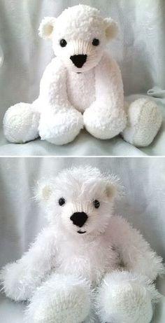 Knitting Pattern for Huggable Polar Bears -This pattern from Huggable Bears incl. Loom Knitting, Free Knitting, Baby Knitting, Knitting Needles, Start Knitting, Knitted Teddy Bear, Crochet Bear, Crochet Toys, Sock Animals