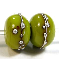 Pistachio Green Handmade Lampwork Beads Opaque Shiny Glass Silver 415g   Covergirlbeads - Jewelry on ArtFire