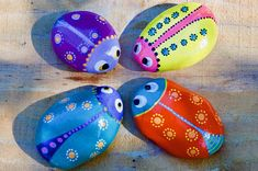 5 painted bugs Natural play. These little bugs will make the perfect gift for children. Allow their imagination to run wild. Pet rocks, or outside in the fairy garden! All rocks are natural and selected by me. They are hand painted in layers of acrylic with a dot painted finish and sealed with a protective gloss. All paints are non toxic. The rocks come boxed in an assortment of colours with a cotton bag to keep them in. Each rock is 3-7cm approx. Stone Painting, Rock Painting, Crochet Boat, Painted Rocks, Hand Painted, Natural Play, Pet Rocks, Paint Finishes, Cotton Bag