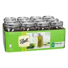 �12-Pack 32 oz Glass Wide Mouth Jars with Lids