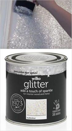 Sparkly Glitter Paint jetzt für £ 9 @ Wilko erhältlich - Dekoration 2019 Freie - New Ideas Decoration Bedroom, Diy Home Decor, Spa Room Decor, Room Decorations, Glitter Home Decor, Girl Room, Girls Bedroom, Bedroom Art, Trendy Bedroom