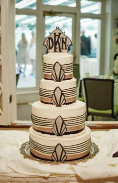 Art Deco Cake by Kelsey Elizabeth Cakes Art Deco Cake, Sweets, Crystals, Desserts, Cakes, Big, Food, Vintage, Sweet Pastries