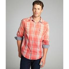 Just A Cheap Shirt men's red coral and indigo plaid snap front 'Sydney' button down shirt