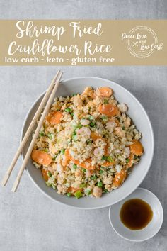 cauliflower fried rice Shrimp Fried Cauliflower Rice is the perfect option when youre craving takeout. Not only is this an easy swap, but this keto fried rice is loaded with vegg Low Carb Rice, Low Carb Keto, Low Carb Recipes, Healthy Recipes, Healthy Meals, Cauliflower Fried Rice, Cauliflower Recipes, Seafood Recipes, Recipes Dinner