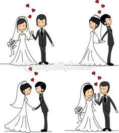 набор свадебных фотографий, невеста и жених в любви, вектор — Стоковое векторное изображение © virinaflora #14074359