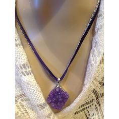 Raw Amethyst Necklace Purple Natural Stone Jewelry February Birthstone... ($35) ❤ liked on Polyvore featuring jewelry, necklaces, semi precious necklace, gemstone necklaces, gem necklace, natural stone jewelry and choker jewelry