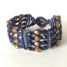 Wide Micro Macrame Woven Beaded Bracelet in by LittleGemsbyMel