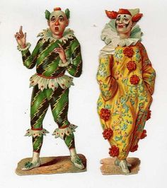 Two Pieces of Victorian Scrap - Clowns