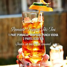 Create vacation vibes right in your backyard with the Pinnacle® Tropical Tiki-Tini cocktail recipe!   1 part Pinnacle®Tropical Punch Vodka  2 parts iced tea  Shake, sit back and unwind.
