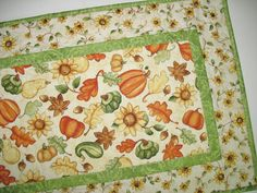 Autumn Table Runner Fall Leaves Pumpkins by PicketFenceFabric, $38.00