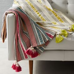 Seersucker Stripe Picnic Throw | west elm Just the type of light throw that would work well hung over a rail above the bed. Change out for winter!