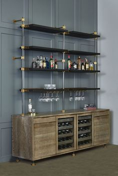 The Loft 3 Post Back Bar Unit features wine glass holders and bronze bottle stops for an extra detail to make your bar stand out!