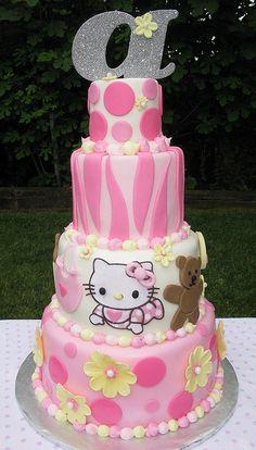 Pink Zebra Print Hello Kitty Baby Shower Cake