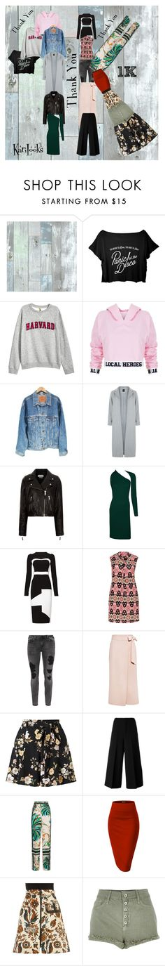 """""""Thank you for 1k"""" by karilooks ❤ liked on Polyvore featuring Wall Pops!, H&M, Local Heroes, Levi's, New Look, Étoile Isabel Marant, Antonio Berardi, Samya, Zizzi and TIBI"""