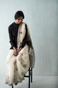 Goodearth - Amer Tulip Chanderi Saree