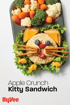 This cute bento box sandwich gets its crunch from fresh apples and cereal, and it's sweetness from tasty apple butter. Try this fun combination the next time you're looking for a new lunch idea for the kids. Find the recipe and everything you need at Hy-Vee.com.