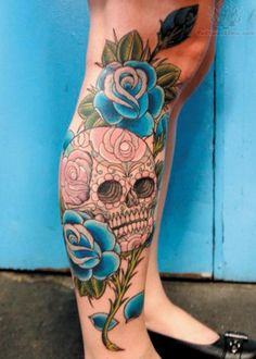 http://www.tattoostime.com/images/266/blue-rose-and-sugar-skull-tattoo-on-leg.jpg