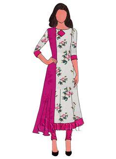 White Digital Printed Chanderi Cotton Anarkali Suit