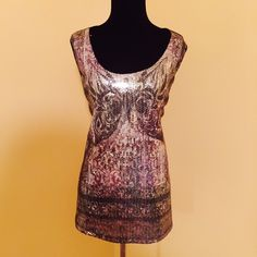 Dressbarn black sequin tunic tank 1x plus silver Gorgeous soft and stretchy tank tunic sequin Dress Barn Tops Tank Tops