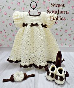 Baby and Toddler Girl's Spring Dress with Matching Flower Headband and Mary Jane…