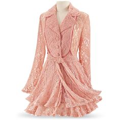 Coral Lace Jacket Size 2X ($80) ❤ liked on Polyvore featuring outerwear, coats, dresses, jackets and plus size
