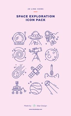 Space Exploration Icons Set made by iStar Design. Series of 20 line icons, created by influence of space exploration, science and astronomy. Neatly organized icon, file and layer structure for better workflow experience. Carefully handcrafted icons usable for digital design or any possible creative field. Suitable for print, web, symbols, apps, infographics.