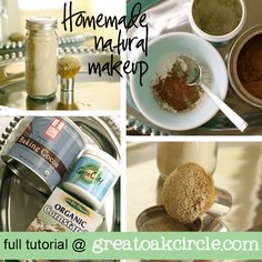 --homemade-natural-makeup  --In a small bowl combine 1 part cornstarch, 1 part green clay and a bit of cocoa.     1 part in a 1 to 1 recipe depends on how much you are making. If you want a gallon, each part would be 2 quarts. If you want 1 cup, each part would be half a cup.  If you are using a spice jar like I did, then about half a jar of each.
