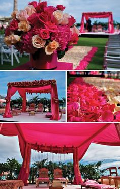 Beautiful Indian Wedding Ceremony in Hawaii. a destination wedding would be so much fun! if i have a wedding outside, which is very unlikely, it WILL be a destination wedding and it will look something like this. end of disucssion. Wedding Ceremony Ideas, Indian Wedding Ceremony, Big Fat Indian Wedding, Wedding Mandap, Reception Party, Wedding Table, Wedding Dress, Indian Wedding Decorations, Ceremony Decorations