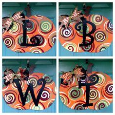 Pumpkin Door Hanger Fall Door Hanger Custom by MyBelovedReclaimed