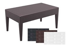 CLP Tavolo lounge in design MIAMI ca 90 x 50 cm, plastica (polipropilene) in ottica rattan, impilabile, abbinabile a lettini marrone