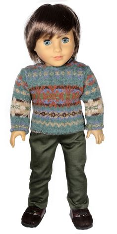 American Boy Doll Clothes Outfit - Silly Monkey - Teal and Orange Wool Sweater and Green Pants, $22.00 (http://www.silly-monkey.com/products/teal-and-orange-wool-sweater-and-green-pants.html)
