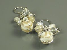 """Mother-of-Pearl Silver Wire-wrapped Cluster Earrings - """"Pearly Whites"""". $48.00, via Etsy. So pretty!"""
