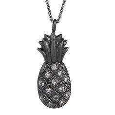 Halskæde formet som en ananas i sort sterling sølv beklædt med hvid topas ædelsten.