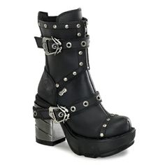 Studded multi strap ankle boots with brushed chrome ABS heel. Goth, black, metal, straps, boot, buckle.