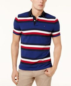 623841c26ce Tommy Hilfiger Men s Custom-Fit Gilmore Striped Polo   Reviews - Polos -  Men - Macy s