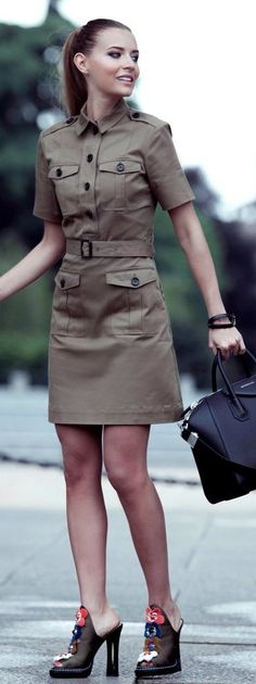 #street #style #spring #2016 #it-girl #outfitideas | Military Dress | The Fashion Fruit